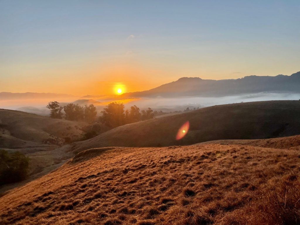Picture of hills and sunset